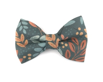 Fall Dog bow tie AUTUMN SKY, leaves in orange and bown on teal grey, bowtie for dog collar