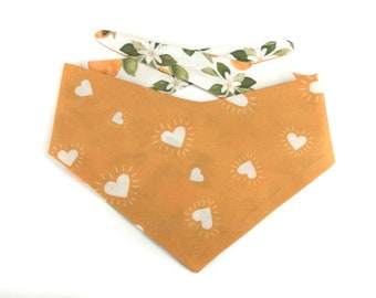 Yellow Dog Bandana SUNNY hearts, backside with oranges and leaves, DOUBLESIDED reversible