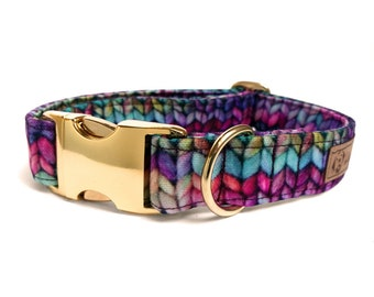 """Colorful faux-knit dog collar, Eco Canvas, """"Sweater Weather"""" collars for dogs for fall and winter"""