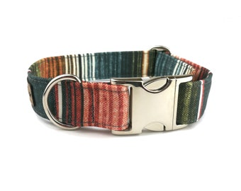Striped dog collar SOUTHWESTERN EARTH, stripes in autumn colors / earth tones of olive green, dark teal and rust orange fabric dog collar