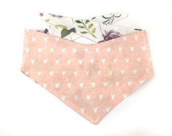 Pink / blush dog bandana with cute white hearts, fall flowers, floral cotton fabric bandana  pink white hearts