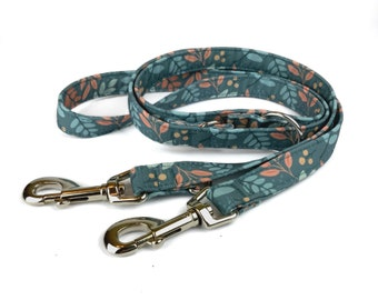 Fall dog leash AUTUMN SKY, leaves in orange and bown on teal grey, fabric lead - 3 length to choose - adjustable length