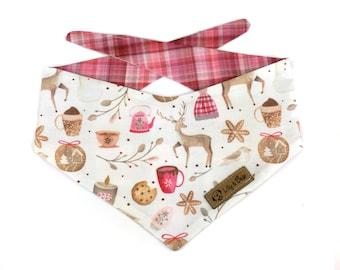 Cozy Christmas Dog Bandana, red pink plaid bandana for dogs, cute deer, snowman, cocoa, cookies