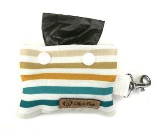 Poop bag holder BAXTER, white and blue stripes, dog waste bag holder, poop bag dispenser