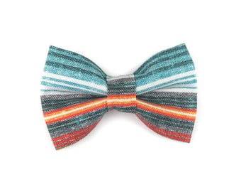 Striped dog bow tie SOUTHWESTERN TEAL, stripes in teal blue, red and yellow, bowtie for dog collar