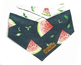 WATERMELON Dog Bandana, chic blue bandana for pets, snap or tie-on, dog scarf for summer season