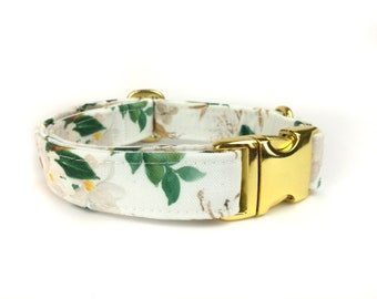 Floral white dog collar ALMOND BLOSSOM, water color style, fabric dog collar, Eco Canvas