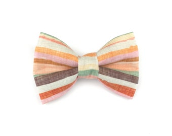 Striped dog bow tie HOPE, stripes in autumn colors / earth tones, bowtie for dog collar
