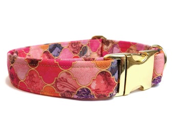 """Red orange Dog collar """"Mermaid Sunset"""", Eco Canvas, collars for dogs, active dogs, water small collar large collar"""