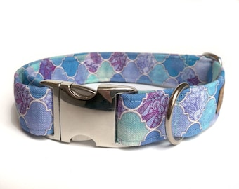 """Blue / purple Dog collar """"Mermaid Purple"""", Eco Canvas, collars for dogs, active dogs, water small collar large collar"""