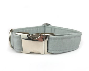 Light grey dog collar, fabric dog collar made from Eco Canvas and polyester webbing inside,  collars for dogs
