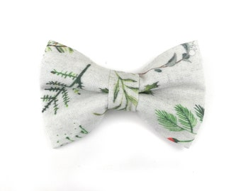 Light grey dog bow tie WINTER GREENERY, faux linen christmas greenery, bowtie for dog collar