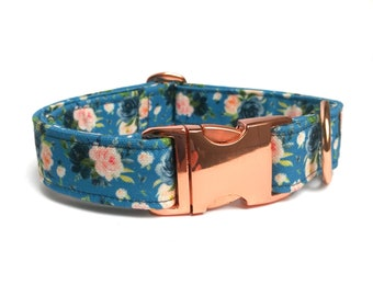 Blue floral dog collar with pink roses, Eco Canvas, cute fabric dog collar, girly dog collar, floral small dogs