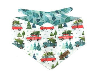 Cute winter Dog Bandana DRIVING HOME, christmas trees on cars, holly snow , reversible