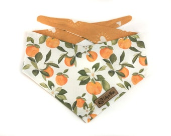 White floral Dog Bandana VALENCIA with oranges and leaves, yellow backside with hearts, DOUBLESIDED reversible