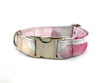 Watercolor dog collar PINK INK, pink beige and grey hand painted look, alcohol ink, fabric dog collar, Eco Canvas