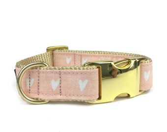 """Pink / blush dog collar with white hearts """"SUNNY"""", cute fabric collar for girl dogs"""