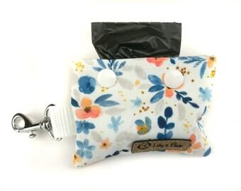 Floral poop bag holder LUCCA, blue and orange flowers and leaves, dog waste bag holder, poop bag dispenser