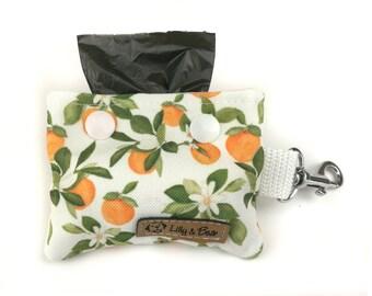Floral poop bag holder VALENCIA with oranges and leaves, dog waste bag holder, poop bag dispenser