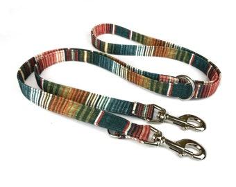 Striped dog leash SOUTHWESTERN EARTH, stripes in autumn colors / earth tones, fabric lead - 3 length to choose - adjustable length