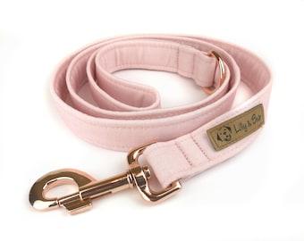 Rose pink blush dog leash, fabric lead - 3 length to choose - adjustable length