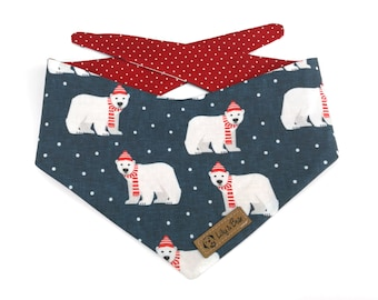 Cute Polar Bear Dog Bandana, reversible dog bandana, red and white polka dots
