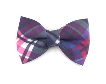 Checkered dog bow tie BERRY PLAID, jewel tones of blue, purple and pink, bowtie for dog collar