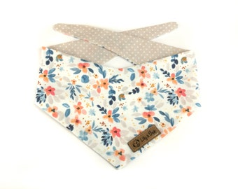 White floral Dog Bandana LUCCA, Choose your backside - pink or beige, DOUBLESIDED