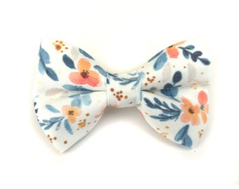 Floral white dog bow tie LUCCA with blue orange flowers, bowtie for dog collar
