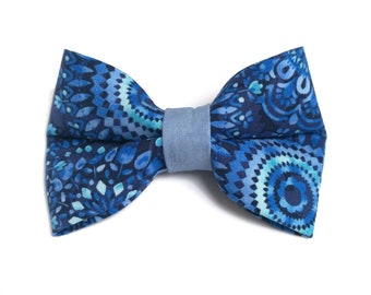 """Blue dog bow tie, bowtie for dog collar """"Beach Tie Dye"""", Bow for dogs and pets"""