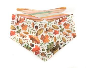 Watercolor Dog Bandana AUTUMN LEAVES, reversible, earthtone stripes, for fall