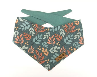 Fall Dog Bandana AUTUMN SKY, leaves in orange and bown on teal grey, reversible
