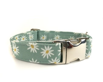 Floral dog collar DAISY, mintgreen with cute white flowers / daisies, fabric dog collar, Eco Canvas
