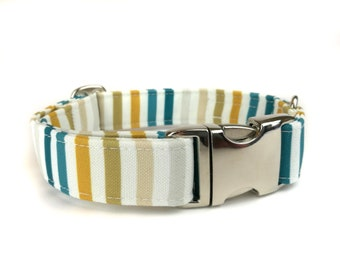 Blue and white striped dog collar BAXTER, fabric dog collar, Eco Canvas