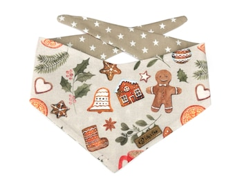 Cute winter Dog Bandana GINGERBREAD PARTY, christmas dog scarf, backside with stars, reversible