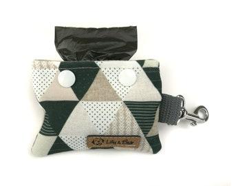Geometric poop bag holder GINO, black and white triangles, dog waste bag holder, poop bag dispenser