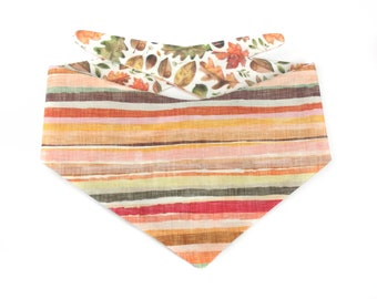 Striped Dog Bandana HOPE, stripes in autumn colors / earth tones, with a watercolor backside of autumn leaves