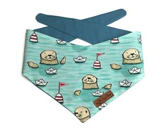 "Aqua blue nautical Dog Bandana ""Otter Love"",with cute paper boats on the sea, bandana for pets, dog scarf"