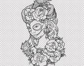 Lady Day of the Dead Sugar Flowers SVG PNG JPG Pdf Cricut Silhoutte
