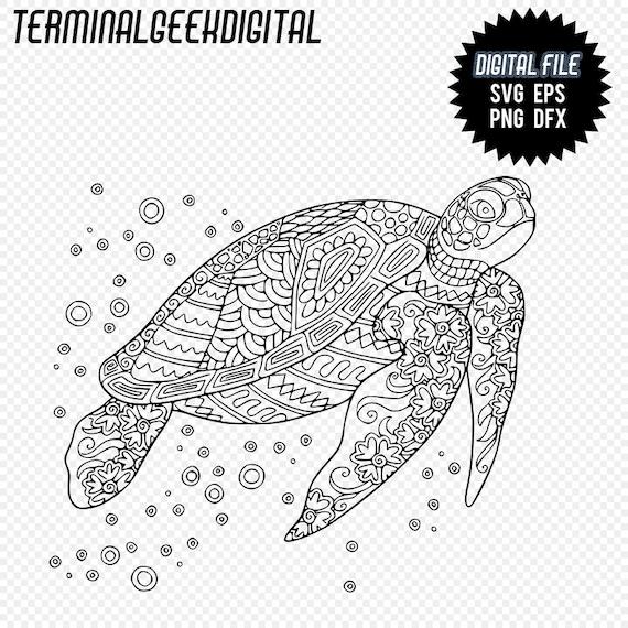 Swimming Turtle Zentangle Mandala Svg Png Dxf Eps Cricut Etsy