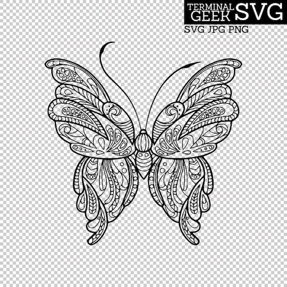 Download Butterfly Zentangle Mandala SVG PNG JPG Cricut Silhoutte ...