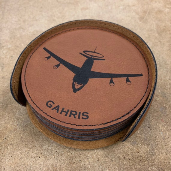 Personalize #WL032 E-3 Sentry AWACS Laser Engraved Leatherette Coaster Many Colors Engraved Coaster