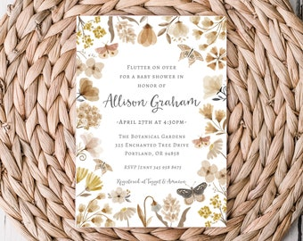 Blooming Butterfly Baby Shower Invitation Printable 5x7 Boho Butterfly Neutral Invite Garden Party
