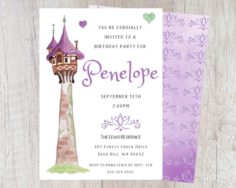 Tangled Birthday Party Invitation Printable 5x7 Rapunzel