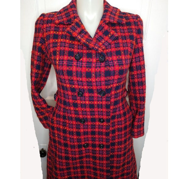 Authentic Vintage Plaid Wool Pea Coat