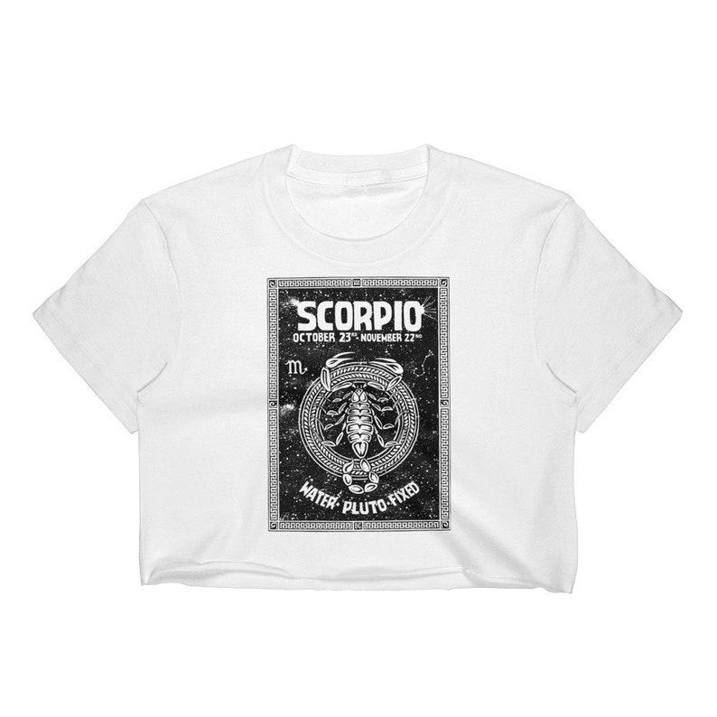 Scorpio Zodiac Sign - the Scorpion - October 23rd-November 22nd Birthdays -  Pluto - Water - White Cotton Women's Crop Top - Made in USA