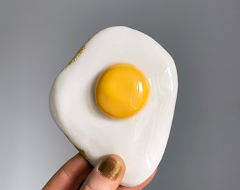 Ceramic fried egg decoration - Quirky pottery novelty egg decor - Fun table top or shelf ornament - Food art