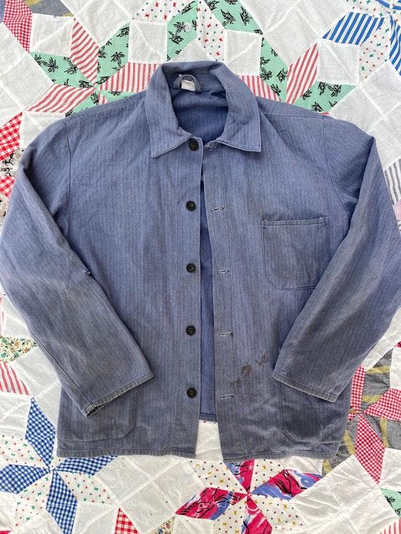 Vintage European French Slate Blue Chore Coat Jac… - image 2