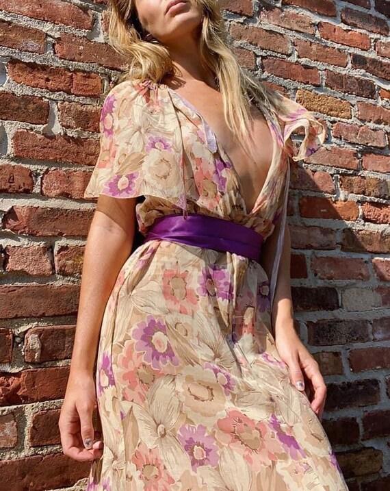 Vintage 30s Sheer Floral Lingerie Gown Dress Long