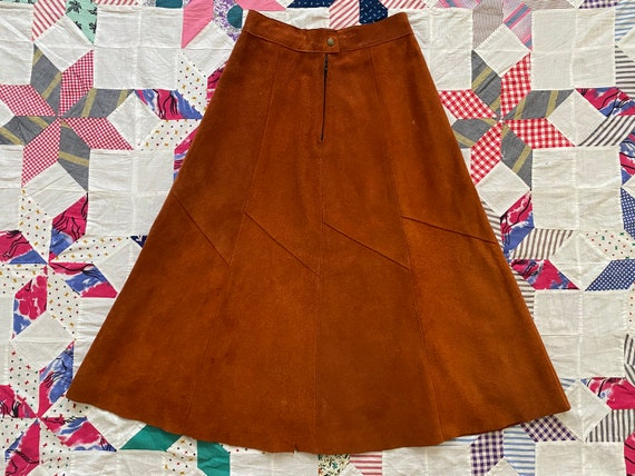 Vintage 70s Brown Suede High Waisted Midi Flare Sk